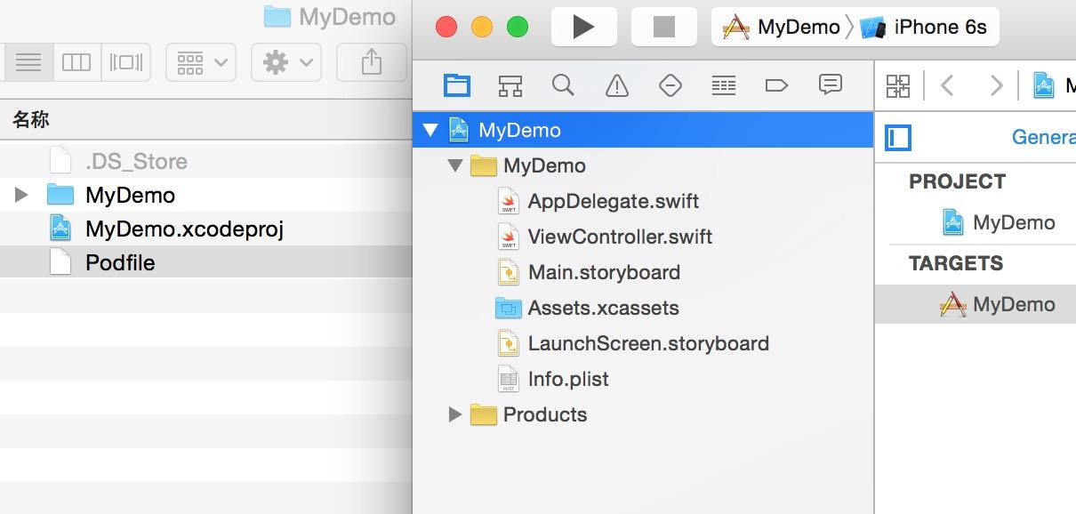 创建Podfile文件后的工程目录结构